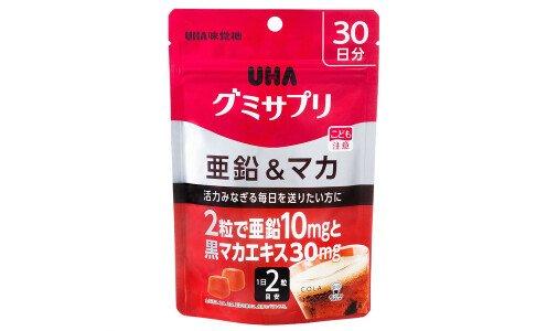 UHA Gummy Supple Zinc & Black Maca — цинк и мака, жевательные витамины со вкусом колы