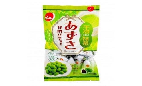 DENROKU Azuki Matcha Chocolate — сладкие бобы адзуки в шоколаде с матча