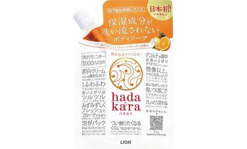 LION Hadakara — гель для душа с технологией удержания влаги на коже, мини-пакет